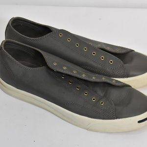 Converse Jack Purcell Gray Leather Low Sneakers 9